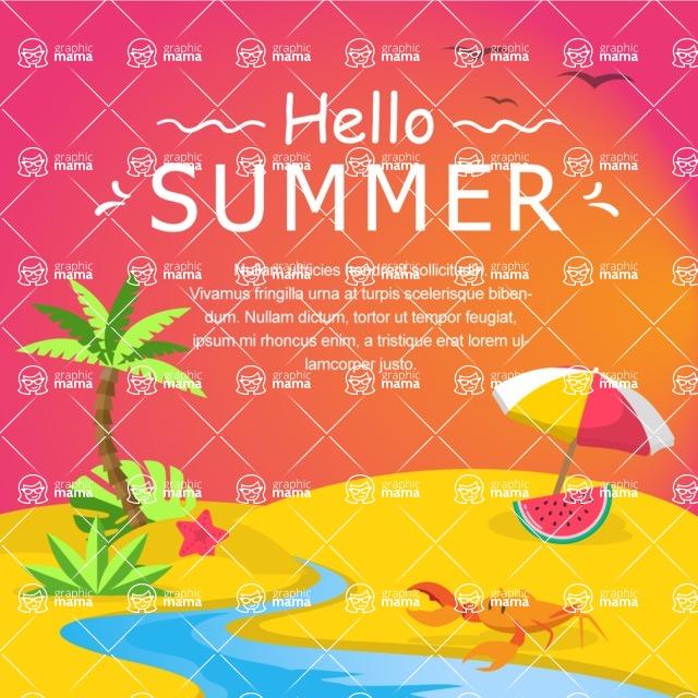 Summer Vector Graphics - Mega Bundle - Vector Summer Poster Template