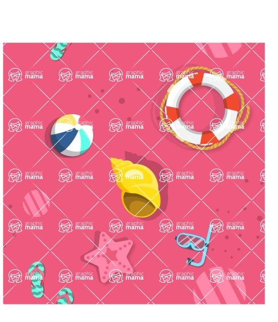 Summer Vector Graphics - Mega Bundle - Seamless Vector Pattern with Summer Beach Elements