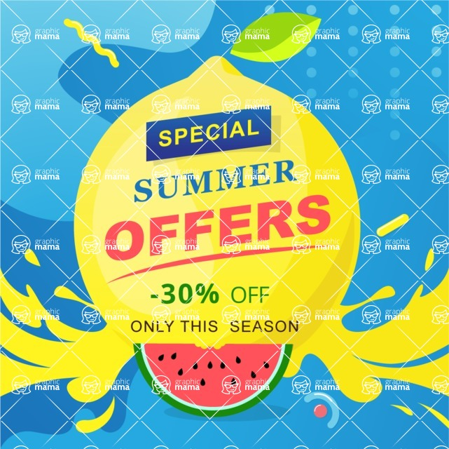 Summer Vector Graphics - Mega Bundle - Creative Summer Poster with a Lemon