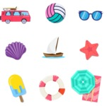 Summer Vector Graphics - Mega Bundle - Vector Travel Icons Set
