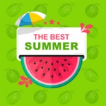 Summer Vector Graphics - Mega Bundle - Vector Summer Poster Template with Watermelon