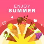 Summer Vector Graphics - Mega Bundle - Hot Summer Poster Template with Ice-creams