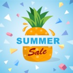 Summer Vector Graphics - Mega Bundle - Colorful Pineapple Poster Template for Summer Sale