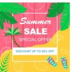 Summer Vector Graphics - Mega Bundle - Summer Discounts Flyer Template