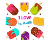 Summer Vector Graphics - Mega Bundle - Colorful Ice Creams Vector Flyer Template