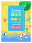 Summer Vector Graphics - Mega Bundle - Modern Flat Style Beach Party Vector Poster Template