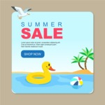 Summer Vector Graphics - Mega Bundle - Hot Summer Sale Banner Template with Beach and Palms