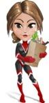 Girl with Superpowers Cartoon Vector Character AKA Jade Nitro - Food Stuff