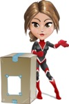 Girl with Superpowers Cartoon Vector Character AKA Jade Nitro - Delivery 1
