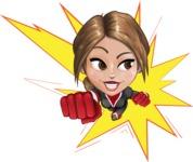 Girl with Superpowers Cartoon Vector Character AKA Jade Nitro - Shape 1