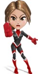 Girl with Superpowers Cartoon Vector Character AKA Jade Nitro - Angry 1
