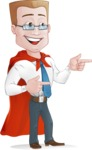 Businessman with Superhero Cape Cartoon Vector Character - Point