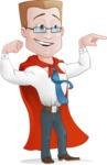 Businessman with Superhero Cape Cartoon Vector Character - Point 2