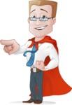 Businessman with Superhero Cape Cartoon Vector Character - Point 3