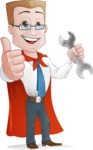 Businessman with Superhero Cape Cartoon Vector Character - Punch