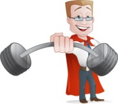 Businessman with Superhero Cape Cartoon Vector Character - Fitness