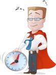 Businessman with Superhero Cape Cartoon Vector Character - Time to Sleep