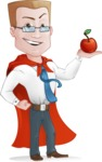 Businessman with Superhero Cape Cartoon Vector Character - Apple