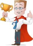 Businessman with Superhero Cape Cartoon Vector Character - Winner