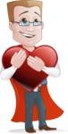 Businessman with Superhero Cape Cartoon Vector Character - Love