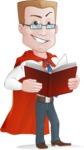 Businessman with Superhero Cape Cartoon Vector Character - Book