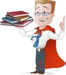 Businessman with Superhero Cape Cartoon Vector Character - Books 2