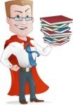 Businessman with Superhero Cape Cartoon Vector Character - Books 3