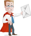 Businessman with Superhero Cape Cartoon Vector Character - Letter 2