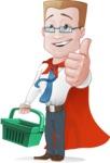 Businessman with Superhero Cape Cartoon Vector Character - Shopping