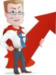 Businessman with Superhero Cape Cartoon Vector Character - Arrow 1