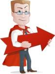 Businessman with Superhero Cape Cartoon Vector Character - Arrow 2