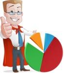 Businessman with Superhero Cape Cartoon Vector Character - Chart