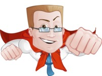 Businessman with Superhero Cape Cartoon Vector Character
