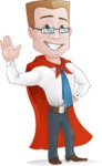 Businessman with Superhero Cape Cartoon Vector Character - GoodBye