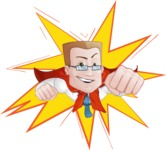 Businessman with Superhero Cape Cartoon Vector Character - Shape 1