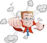 Businessman with Superhero Cape Cartoon Vector Character - Shape 2