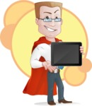 Businessman with Superhero Cape Cartoon Vector Character - Shape 6