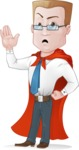 Businessman with Superhero Cape Cartoon Vector Character - Hello