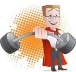 Businessman with Superhero Cape Cartoon Vector Character - Shape 8