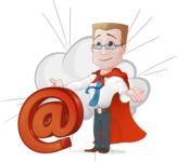 Businessman with Superhero Cape Cartoon Vector Character - Shape 9