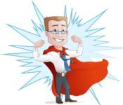 Businessman with Superhero Cape Cartoon Vector Character - Shape 10
