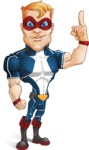 Superhero with Mask Cartoon Vector Character AKA Buff Jaxon - Attention