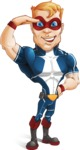 Superhero with Mask Cartoon Vector Character AKA Buff Jaxon - Salute
