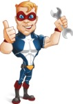 Superhero with Mask Cartoon Vector Character AKA Buff Jaxon - Repair