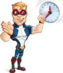 Superhero with Mask Cartoon Vector Character AKA Buff Jaxon - Time is Yours