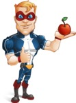 Superhero with Mask Cartoon Vector Character AKA Buff Jaxon - Apple