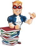 Superhero with Mask Cartoon Vector Character AKA Buff Jaxon - Books1