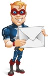 Superhero with Mask Cartoon Vector Character AKA Buff Jaxon - Letter1