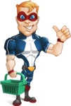 Superhero with Mask Cartoon Vector Character AKA Buff Jaxon - Shopping