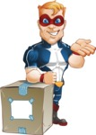 Superhero with Mask Cartoon Vector Character AKA Buff Jaxon - Delivery